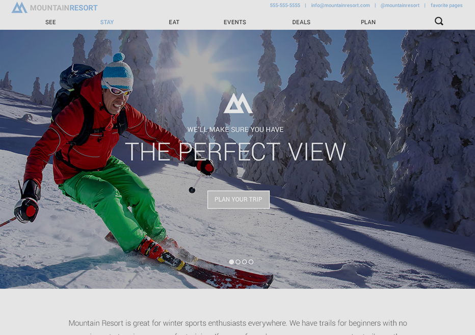 Desktop View of Mountain Resort Theme