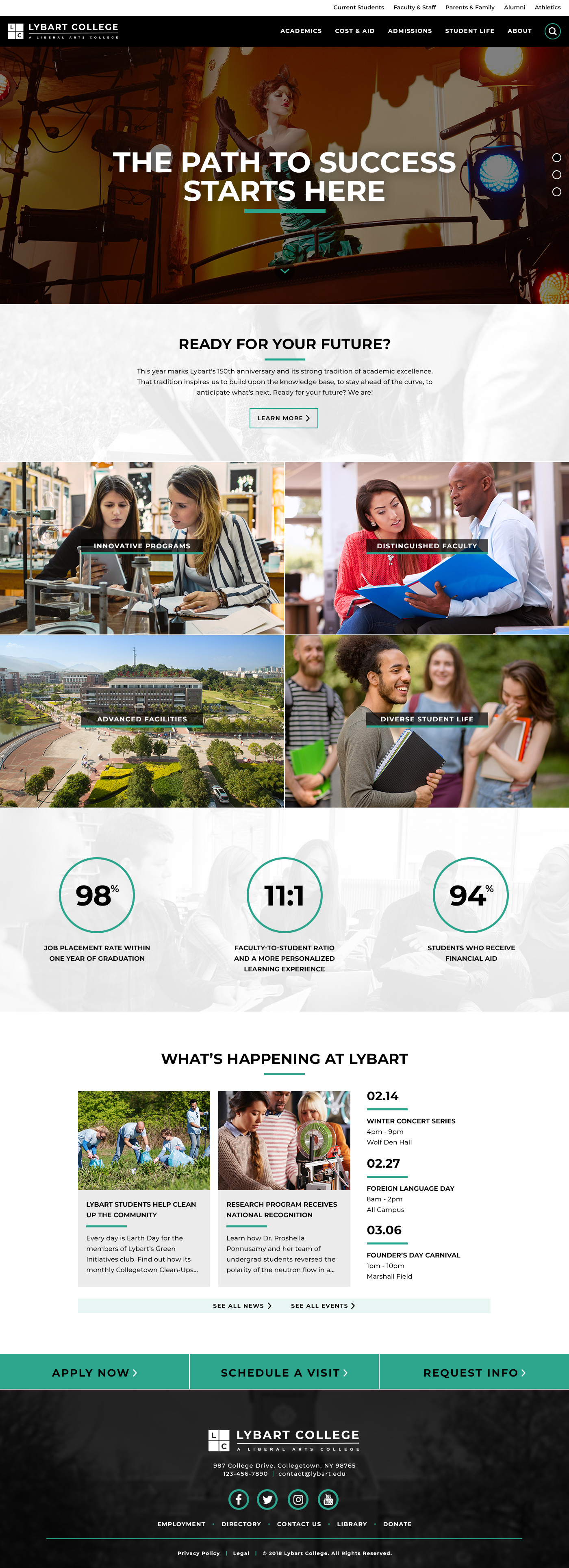 Lybart College Theme Homepage Desktop Preview