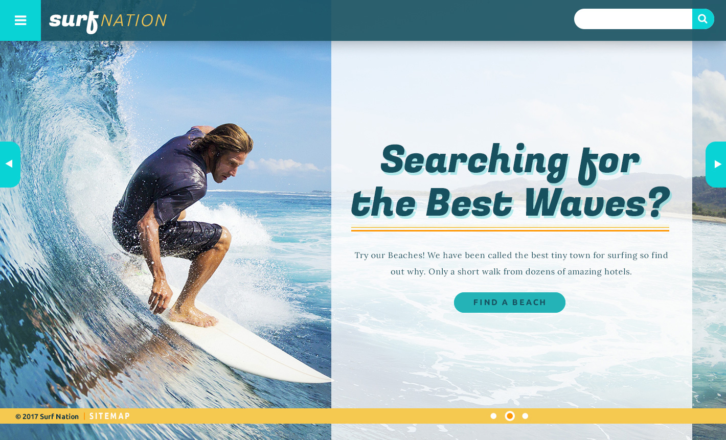 Surf Nation Theme Homepage Desktop Preview