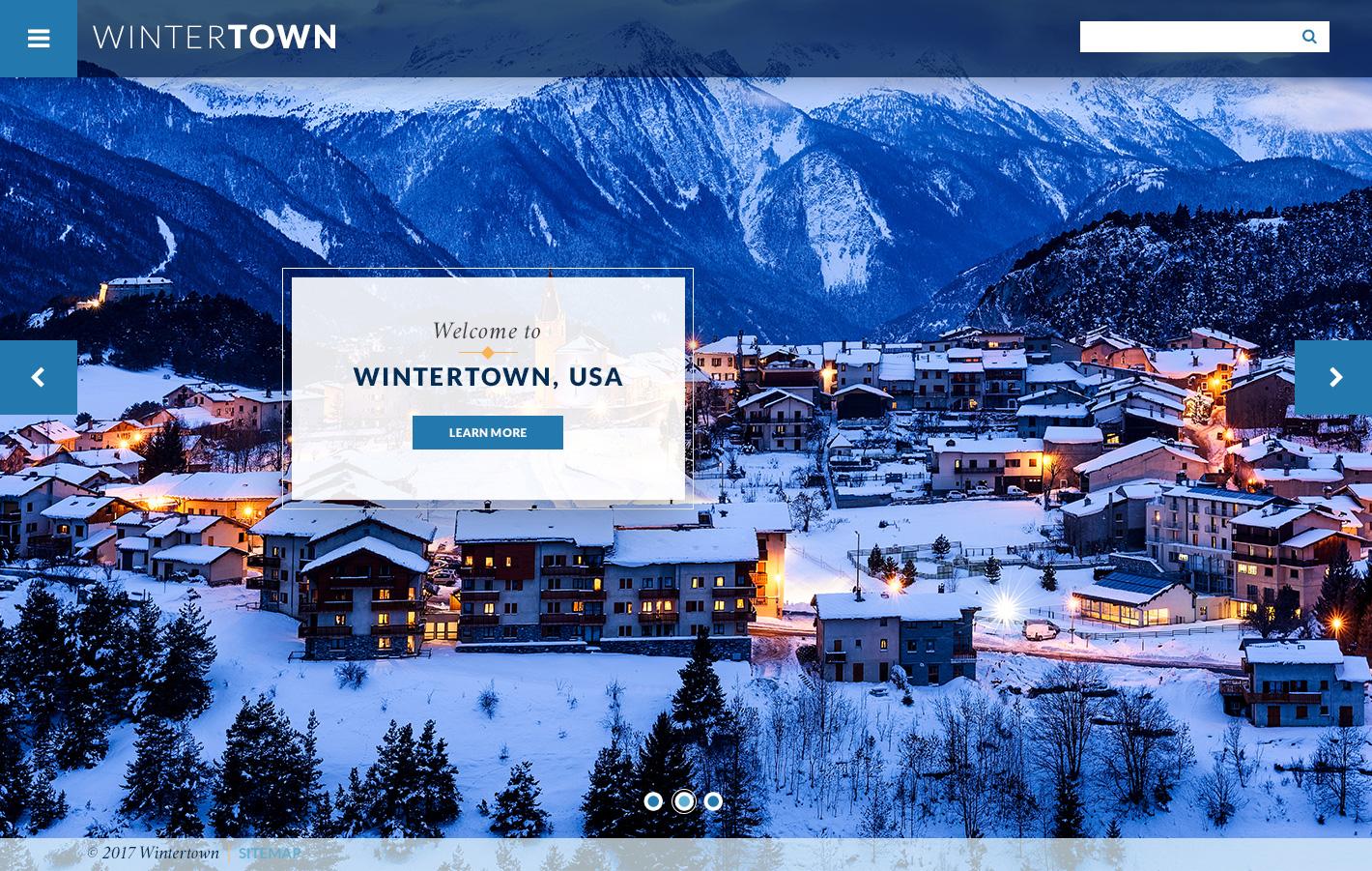 Wintertown Theme Homepage Desktop Preview