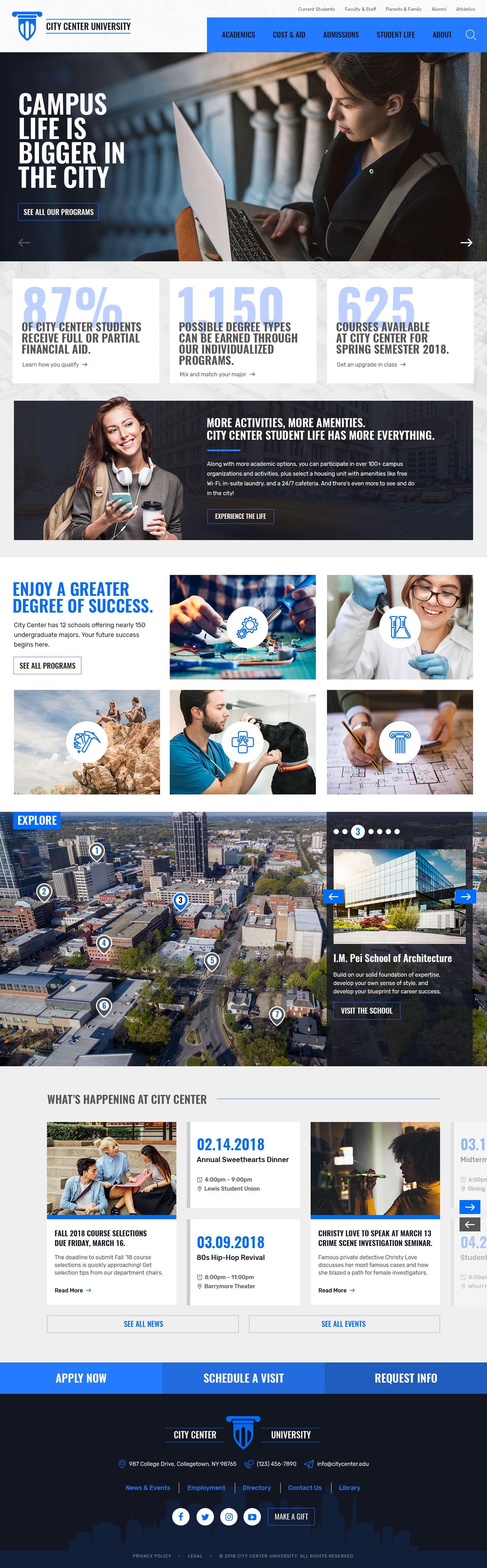 City Center University Theme Homepage Desktop Preview