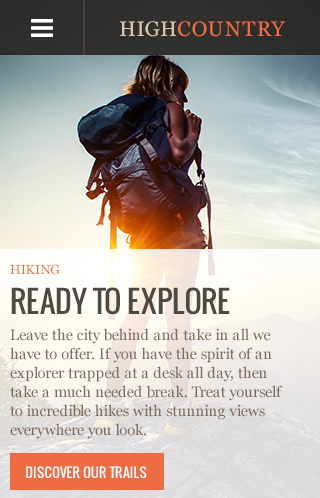 High Country Theme Homepage Mobile Preview