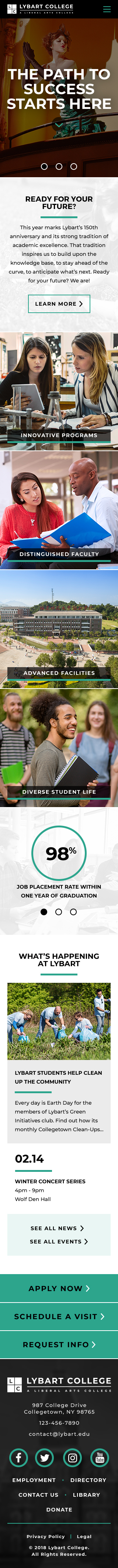 Lybart College Theme Homepage Mobile Preview