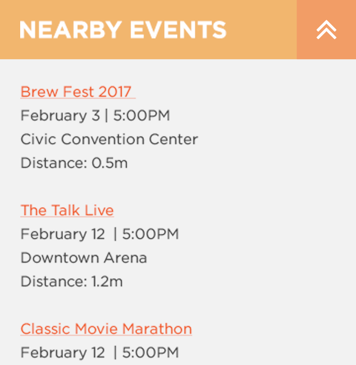 Nearby Events - Related Content Zoomed