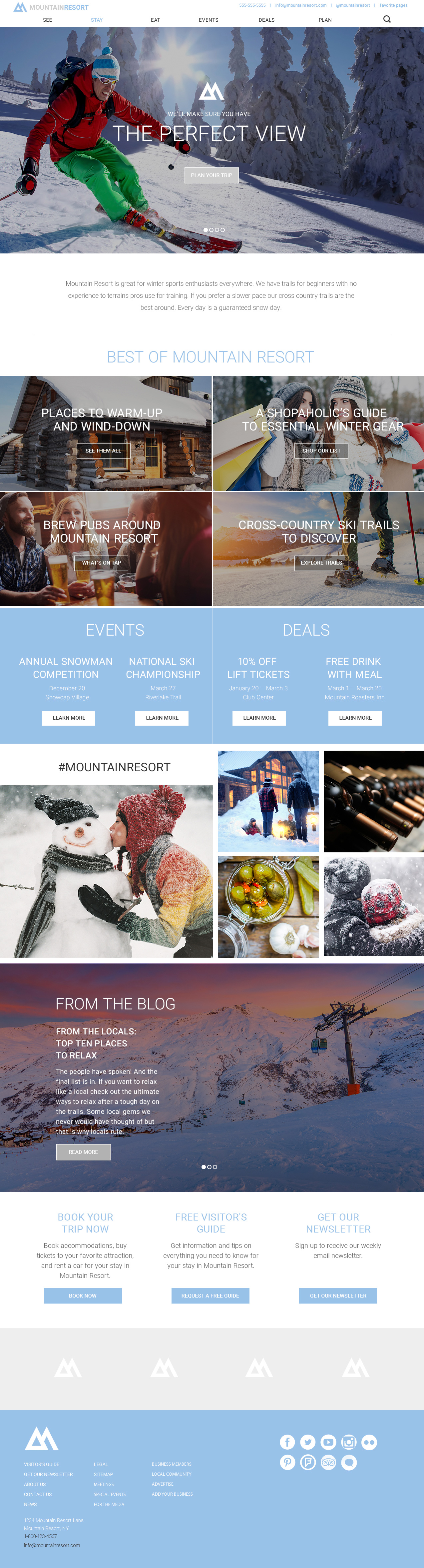 Mountain Resort Theme Homepage Desktop Preview