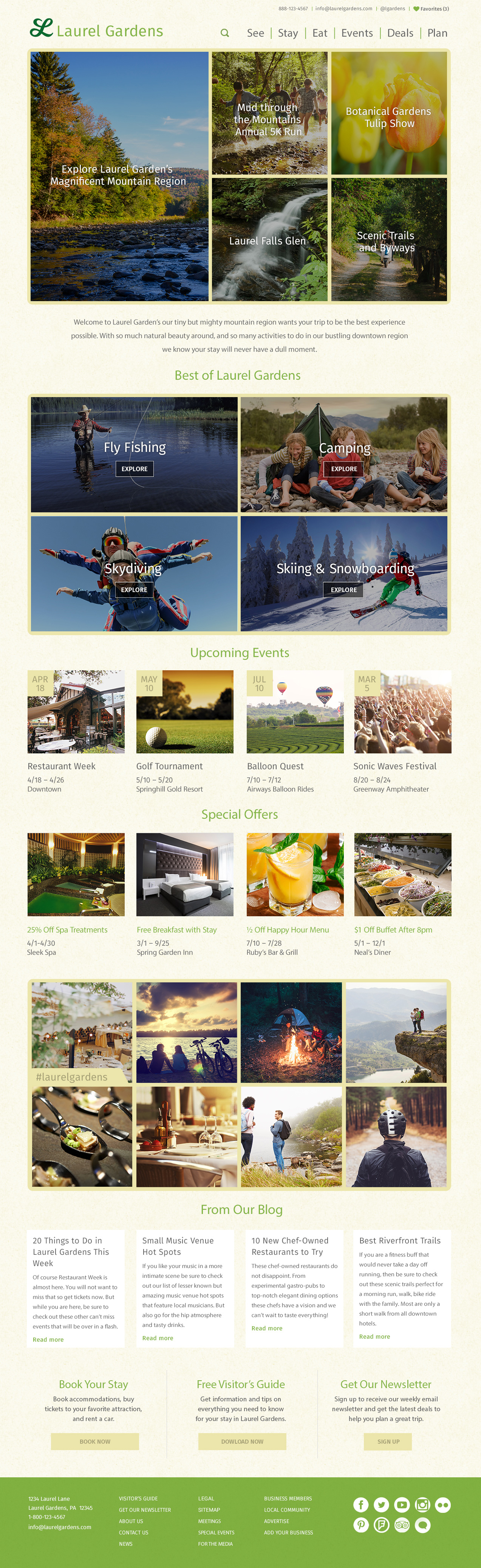 Laurel Gardens Theme Homepage Desktop Preview