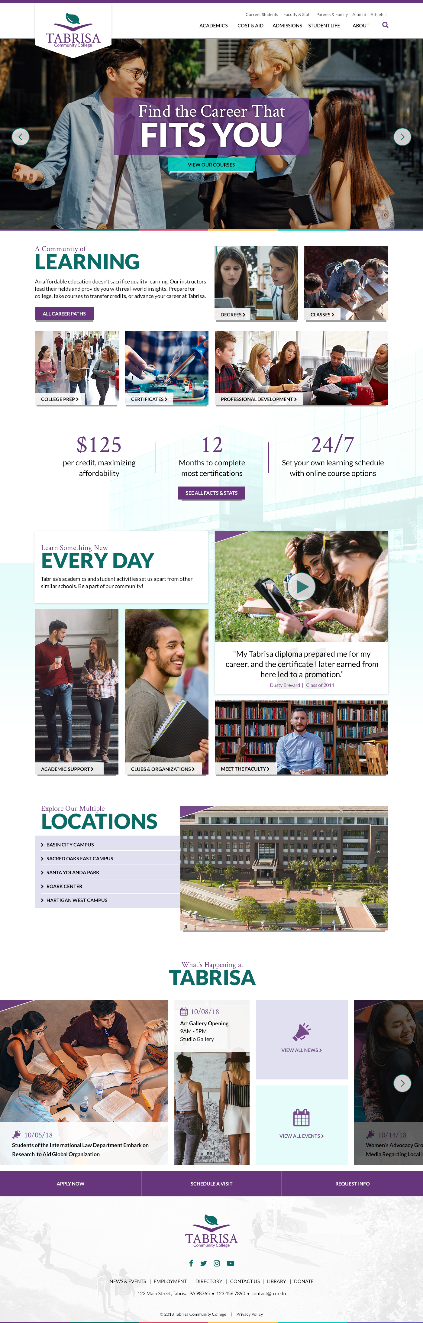 Tabrisa Community College Theme Homepage Desktop Preview