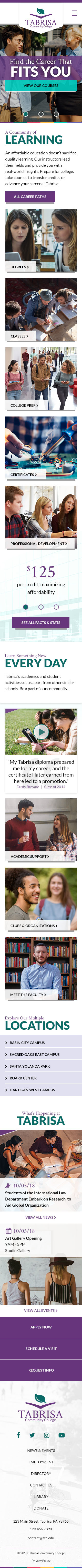 Tabrisa Community College Theme Homepage Mobile Preview